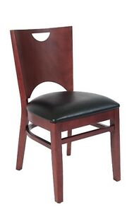 Lot Of 20 Mahogany Finish Wood Restaurant Chair Black Vinyl Seat