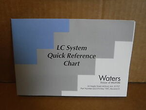 Waters Millipore Corporation Lc System Quick Reference Chart Guide Book Manual