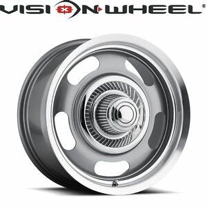 Vision 15x7 Rally 5x127 6mm Silver Paint Wheels Rims Set