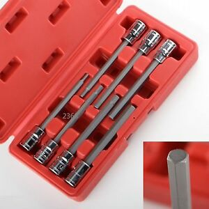 3 8 Sae Extra Long Hex Allen Bit Socket Set 7pc With Case