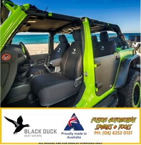 Black Duck Denim Front Bucket Seat Covers For Ford Falcon Fg 07 08 late 2014 Xl