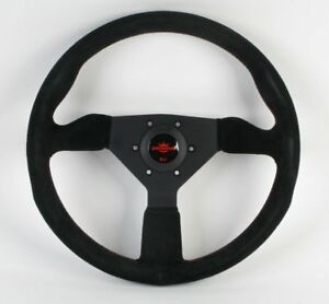 Personal Grinta 350mm Black Suede Steering Wheel W Red Stitching 6430 35 2094