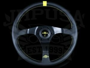 Personal Trophy 350mm Steering Wheel Black Leather W Yellow Stitch 6518 35 2071
