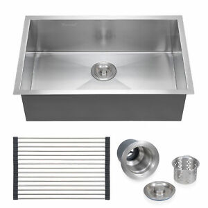 28 x18 304 Stainless Steel Commercial Sink Laundry Kitchen Single Bowl 18 Gauge
