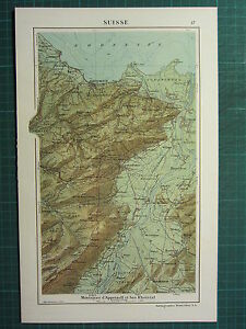 1921 Map Switzerland Physical Mountains Appenzell Bas Rheintal