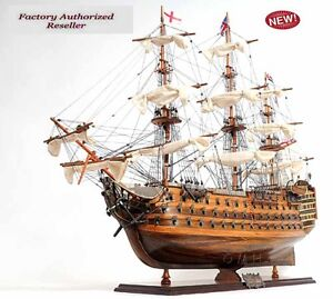 Hms Victory Admiral Nelson Flagship Tall Ship 37 Wood Model Sailboat Assembled
