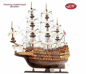 Hms Sovereign Of The Seas 1637 Tall Ship 37 Wooden Model Sailboat Assembled