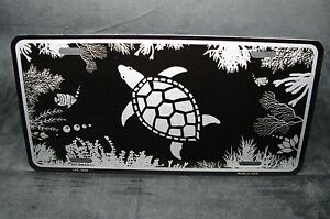 Turtle Black Brushed Metal Novelty License Plate Tag For Cars Sea Turtle