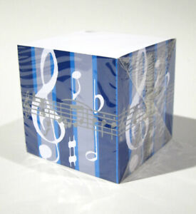 Blue Cube Music Clef Note Pad Post Stationery Gift W Pen Holder 850 Sheets