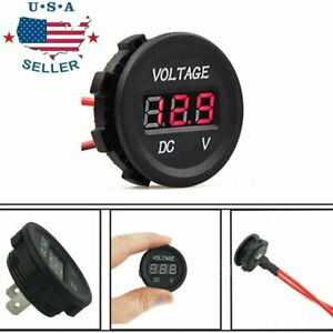 12v 24v Dc Waterproof Car Motorcycle Red Led Digital Display Voltmeter Volt