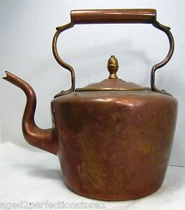 Antique Copper Brass Tea Pot Old Dovetail Rivet Nicely Detailed Handle Finial