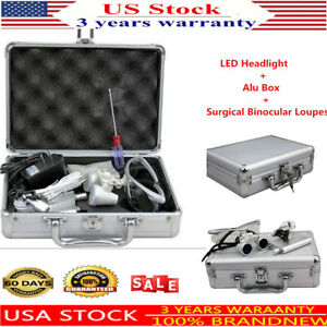 Dental Binocular Loupes 3 5x 420mm Optical Glass Loupe Led Head Light alu Case