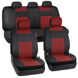 Black Red Pu Leather Car Seat 2 Tone Covers Sport Auto Car 5 Headrests Bench