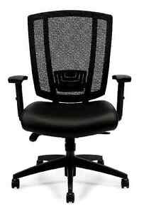 Lot Of 10 Black Otg3101 Upholstered Seat And Mesh Back Synchro tilter Chairs
