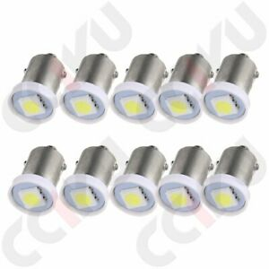 10pcs White 1smd Led Instrument Panel Cluster Ba9s 1895 57 Light Bulbs For Ford