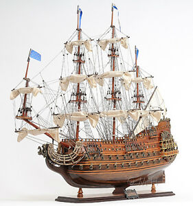 Soleil Royal French Navy Tall Ship 36 Built Wooden Model Sailboat Assembled