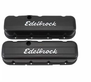 Edelbrock 4683 Signature Series Valve Covers 3 8 Tall For Chevy V8 396 454 Bb