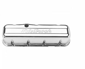 Edelbrock 4680 Signature Series Valve Covers 3 8 Tall For 396 454 Bb Chevy V8