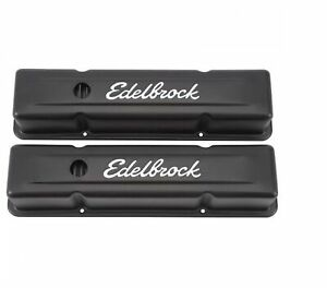 Edelbrock 4643 Signature Series Valve Covers 3 7 Tall For 262 400 Sb Chevy V8