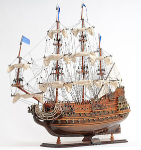 Soleil Royal French Navy Tall Ship 28 Built Wooden Model Sailboat Assembled