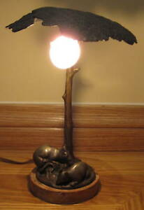 1920 Austrian Bronze Table Lamp Signed