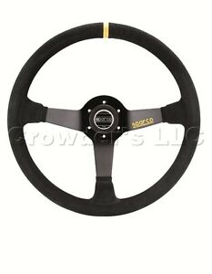 Sparco R368 Steering Wheel 380 Mm Black Suede With Yellow Center Marking New
