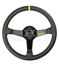 Sparco R 345 Steering Wheel 350 Mm Black Leather With Yellow Center Marking