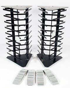 2 Black Acrylic Rotating Earring Display Stands Revolving With 200 Gray Cards