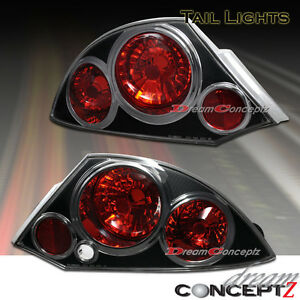 For 2000 2001 2002 Mitsubishi Eclipse Tail Lights Lamps Black Housing Pair