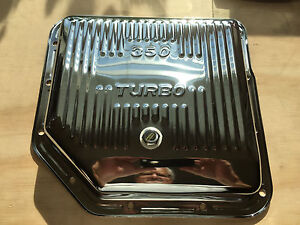 Chrome Chevy Gm Turbo 350 Finned Transmission Oil Pan W Drain Plug Stock Depth
