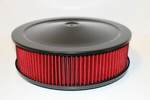 14 X 4 Round Black Washable Red Air Cleaner Assembly Flat Base Sbc 350 Bbc 454