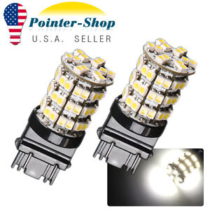 2x White 3157 60smd Daytime Running Turn Signal Led Light Bulbs 4114 3157a 3457a