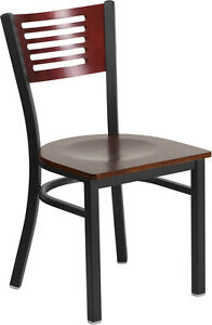 Black Decorative Slat Back Metal Restaurant Chair Mahogany Wood Back