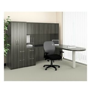 Mayline Aberdeen Executive L shaped Desk Package Gray Steel