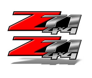 Z71 4x4 Decal Stickers Red Truck Bed Set Of 2 Decals Mk001z71