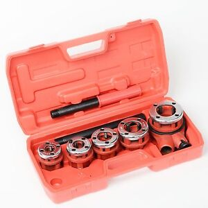 New Ratchet Pipe Threader Kit Set Ratcheting W 5 Dies And Case