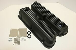 Sbf Black Finned Aluminum Tall Valve Covers 289 302 351w 5 0l Sb Ford Mustang