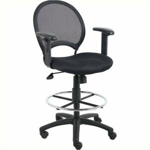 Pemberly Row Mesh Drafting Chair With Adjustable Arms