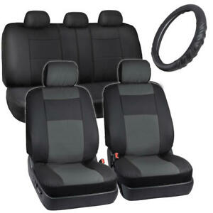Faux Leather Seat Covers For Car Black grey W Cushioned Steering Wheel Cover