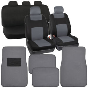 Cool Gray black Car Seat Covers Carpet Floor Mats Interior Protectors