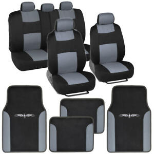 Automobile Seat Covers And Carpet vinyl Trim Floor Mats For Car Suv Van Blk gray