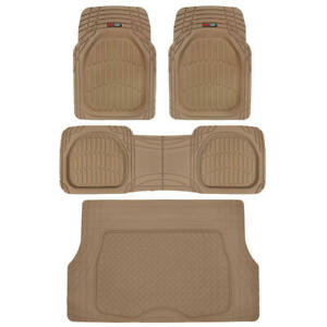 Motor Trend Flextough Rubber Floor Mats Cargo Liner Set Beige For Car Suv Auto