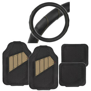 2tone Rubber Floor Mats Black beige Gripdrive Stitched Steering Wheel Cover
