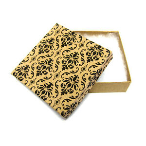 100 Damask Cotton Filled Jewelry Gift Boxes 3 1 2 X 3 1 2 X 1