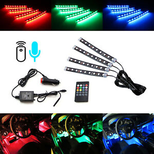 72 smd 7 color Rgb Led Knight Rider Sound Active Lighting Kit For Car 4 X 12