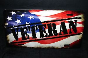 Veteran Metal Novelty Car License Plate Tag With American Flag