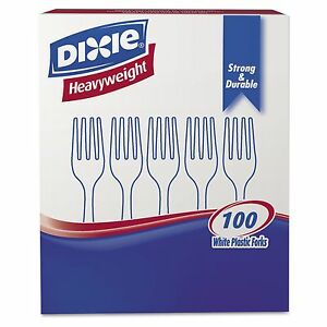 Dixie Plastic Cutlery Heavyweight Forks white 100 Per Box 1 000 Ct New