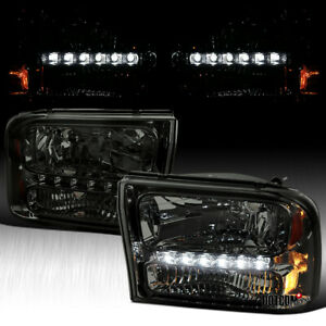 For 1999 2004 Ford F250 F350 Superduty Excursion Smoke 1pc Smd Led Headlights