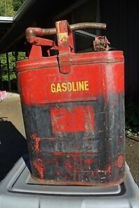 Vintage Used Protectoseal 5 Gal Steel Safety Can Metal Gas Or Diesel Fuel Oil