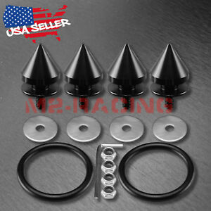 Black Spike Quick Release Fasteners For Car Bumpers Trunk Fender Hatch Lids Kit
